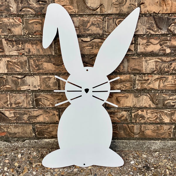 "White Bunny Silhouette Metal Decor 22.5"" x 11"""