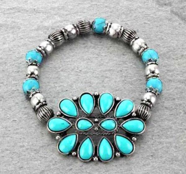 Turquoise Stone Silver Stretch Bracelet