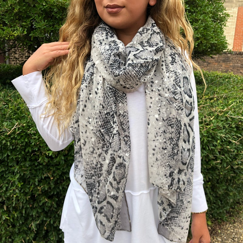 Black & Grey Snakeskin Scarf
