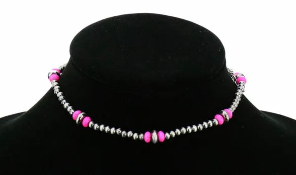 Hot Pink & Silver 4mm Navajo Pearl Choker Necklace