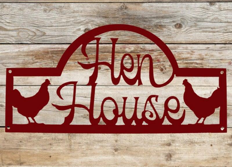 """Indoor/Outdoor Red Metal Hen House 18"""" x 9"""" Sign"""