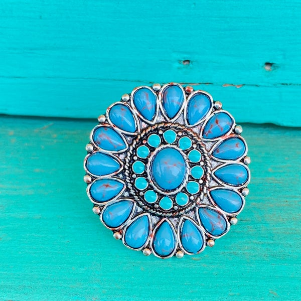 Turquoise Round Medallion Adjustable Ring