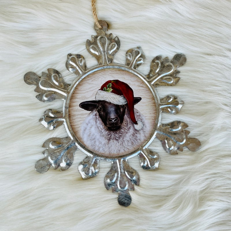 "Large Galvanized Snowflake Sheep 9"" x 9"" Ornament"