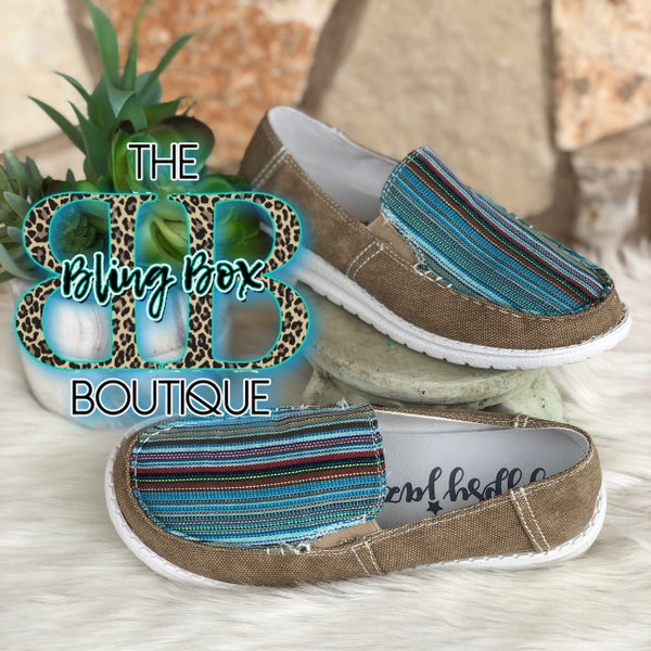 Gypsy Jazz Bronco Tan Turquoise Serape Slip On Shoe