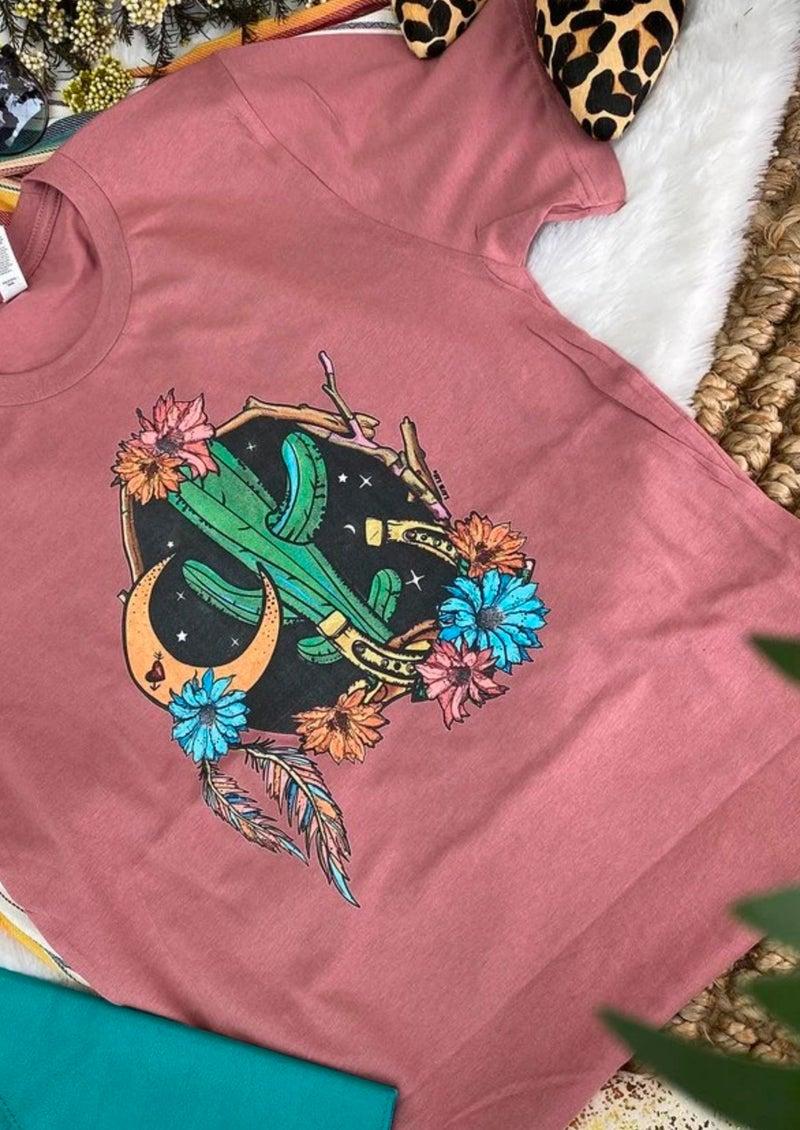 Mauve Cactus Moon T-Shirt