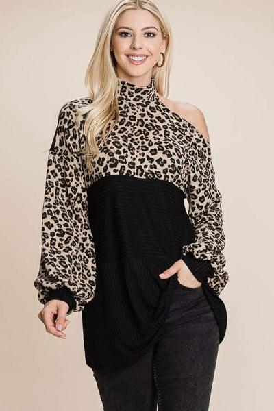 Off Shoulder Leopard Print Choker Sweater