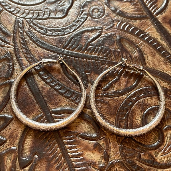 Silver Diamond Cut Hoop Earrings