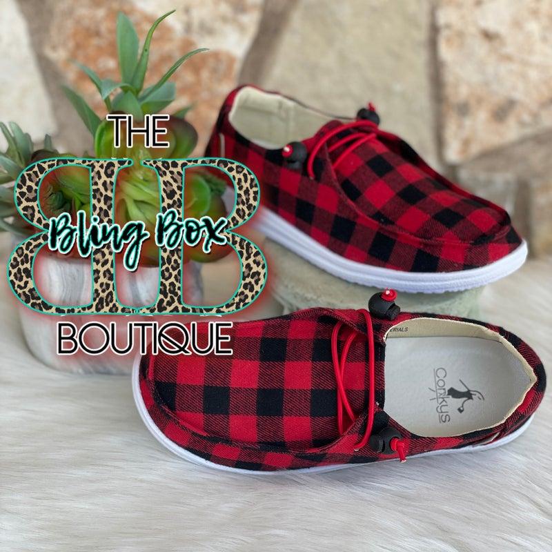 Corkys Kayak Red Buffalo Plaid Slip On Tennis Shoes