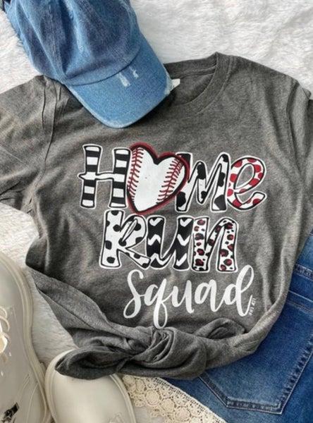 Home Run Squad on V-Neck Grey Tee