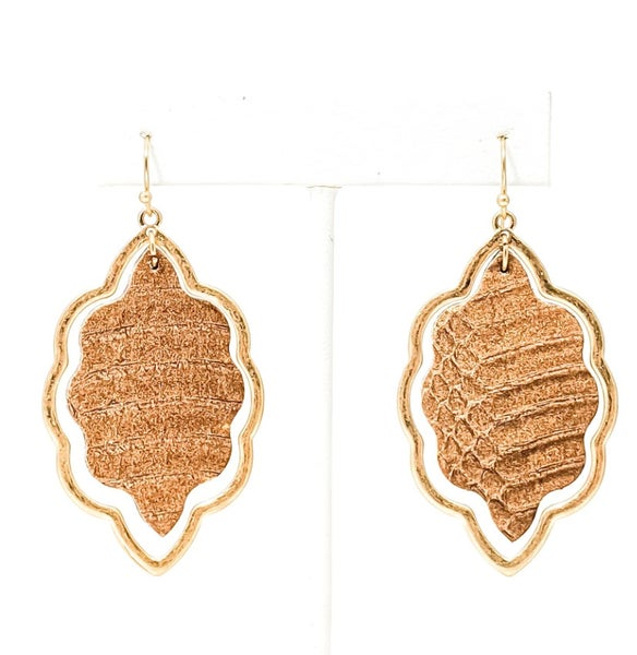 Brown Leather Brianne Damask Gold Earrings