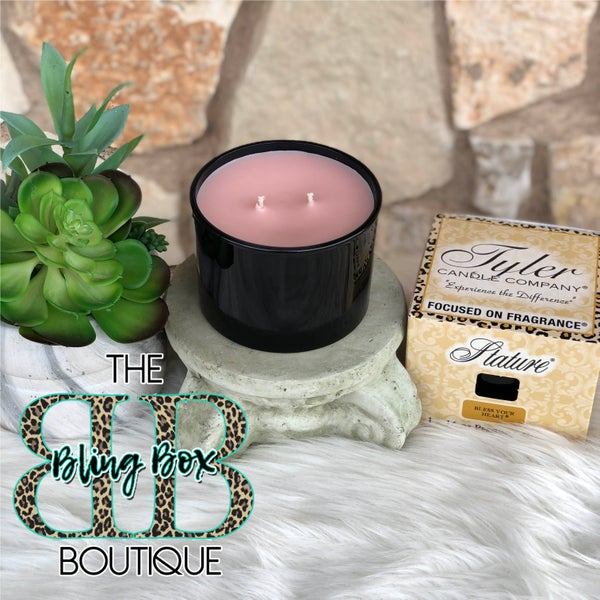 Tyler 16 Oz Bless Your Heart Glossy Black 2 Wick Stature Candle