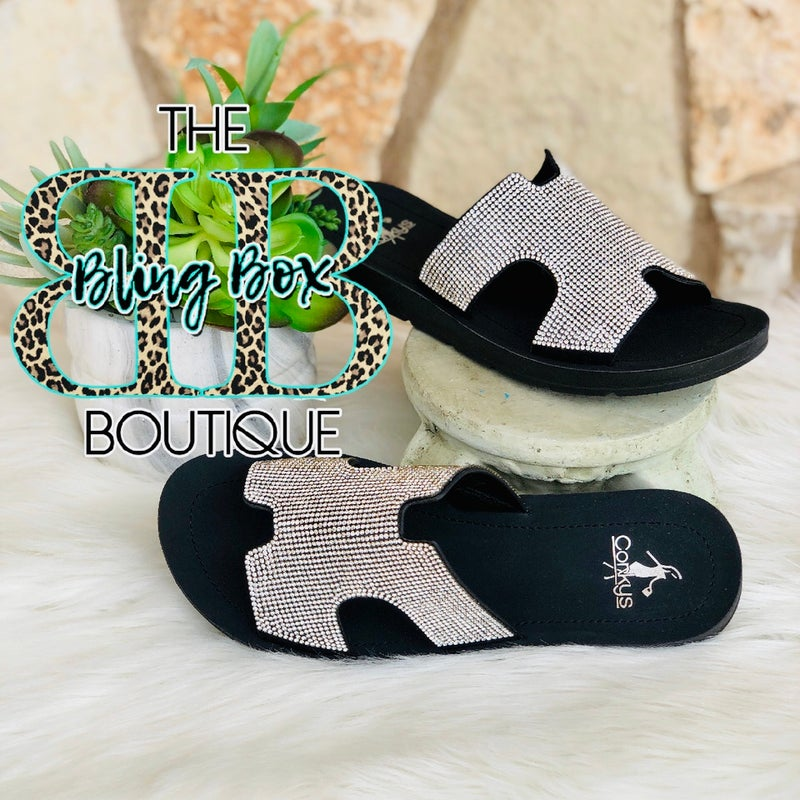 Corkys Clear Rhinestone Elmwood Sandals