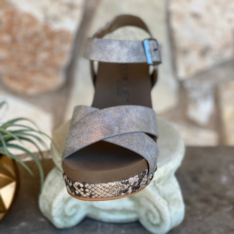 Corkys Pewter Snake Skin Flax Wedge Sandals