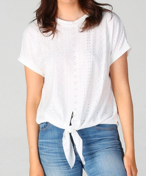 White Knit Eyelet Front Tie Top