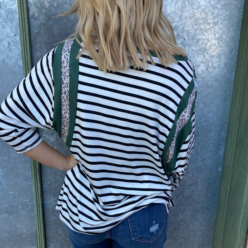 Olive Leopard Striped Top