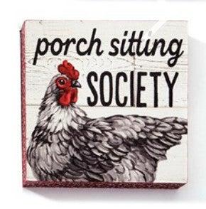 "Porch Sitting Society Wall Block Decor 5""H X 5""W"