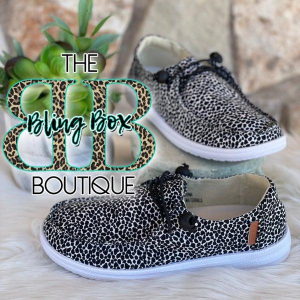Corkys Kayak Black Leopard Slip On Tennis Shoes