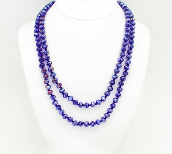 "Royal Blue AB 60"" Crystal Beaded Necklace"