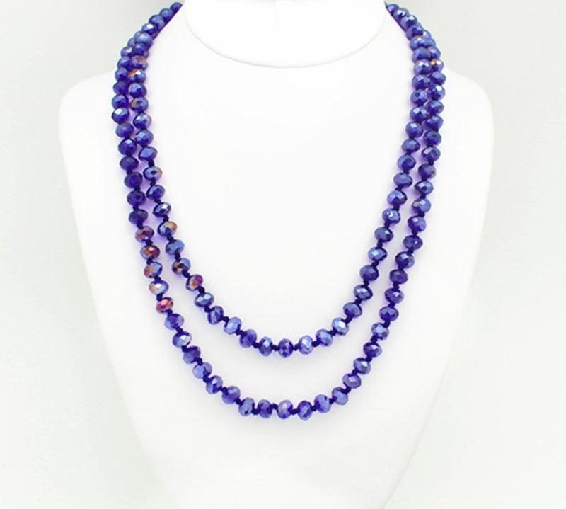 "Royal Blue AB 60"" Crystal Beaded Necklace"