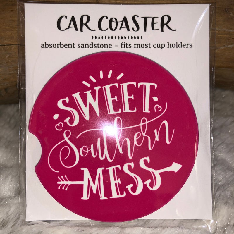 Sweet Southern Mess Sandstone Car Coaster