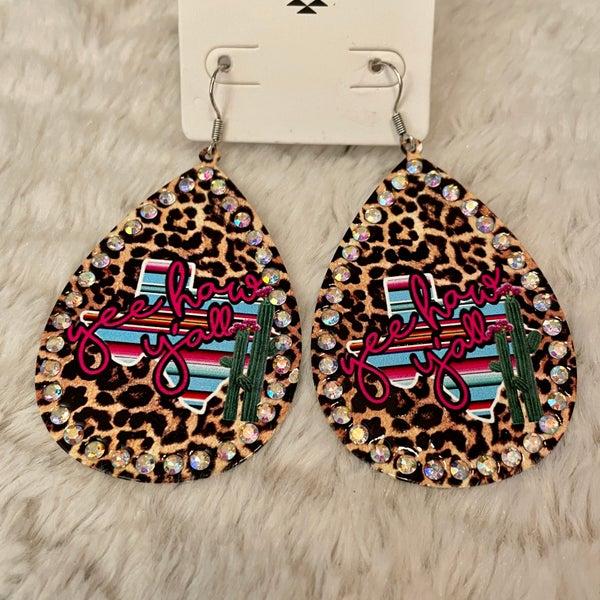 Yeehaw Y'all Leopard Texas Cactus AB Earrings