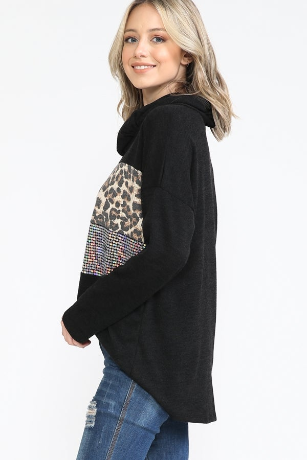 Black Silver Sequin and Leopard Cowl Neck Sweater