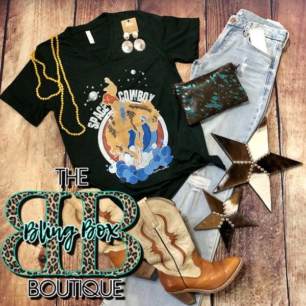 Hunter Green V-Neck Space Cowboy T-Shirt