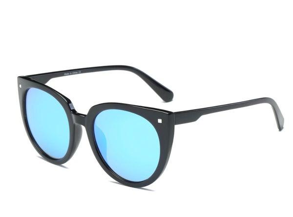 Women's Round Cat Eye Sunglasses with Blue Lenses