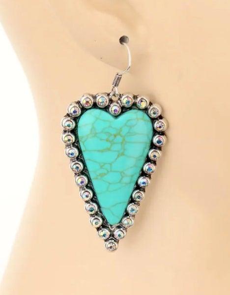 Turquoise Heart AB Studded Earrings