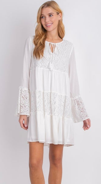 White Bohemian Lined Lace Long Sleeve Dress