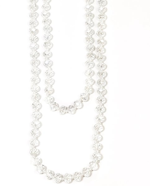 "Clear AB White Knotted 60"" Crystal Beaded Necklace"