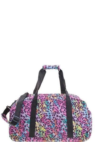 Multi Color Leopard Canvas Weekender Bag