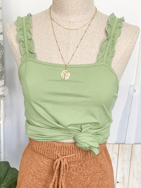 Olive Double Ruffle Shoulder Strap Tank Knit Top