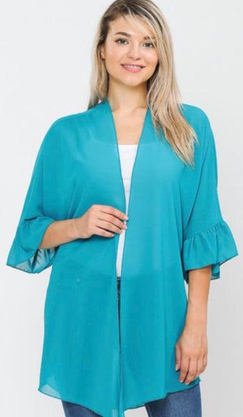 Turquoise Sheer Ruffle Sleeve Kimono