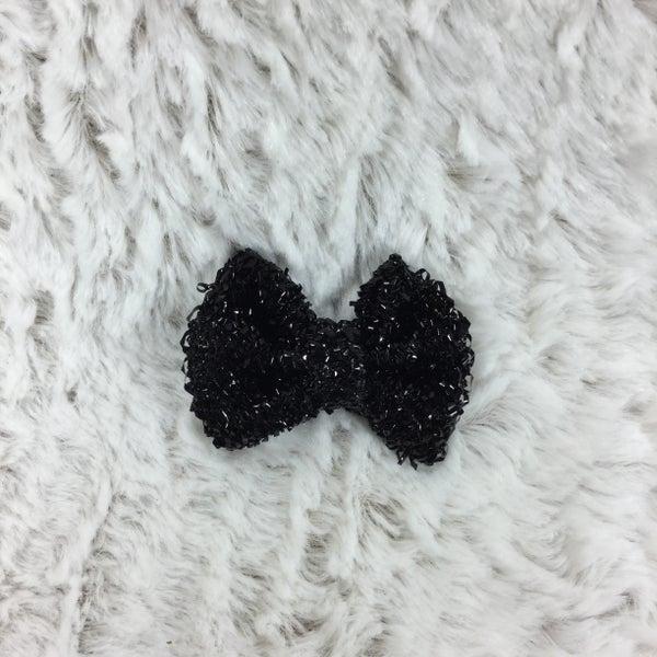 Small Black Glitter Bow