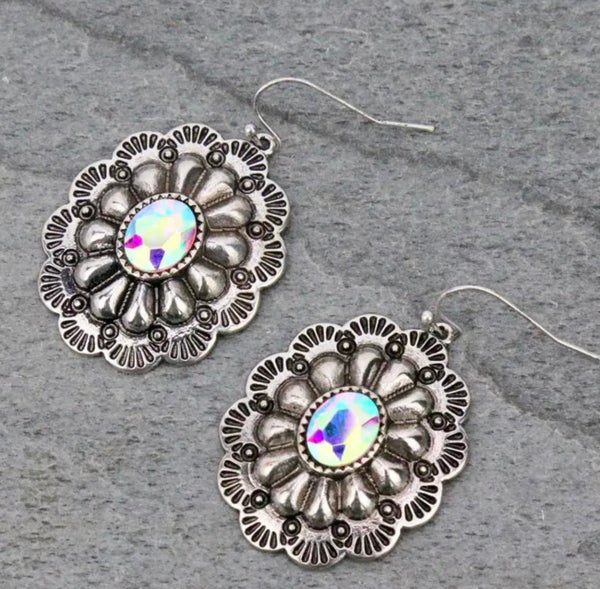 Concho AB Silver Earrings