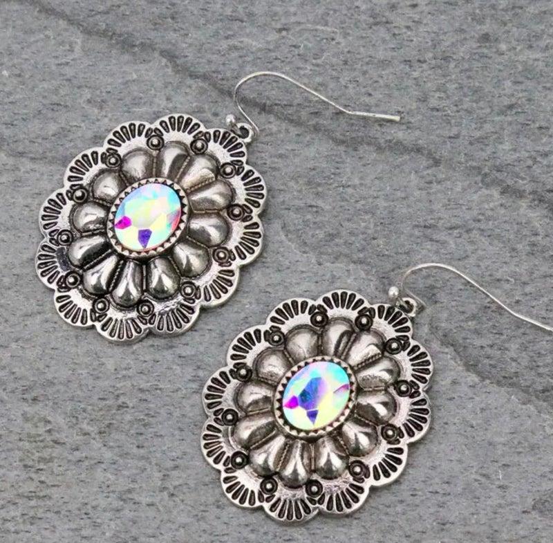 Concho AB Silver Earrings