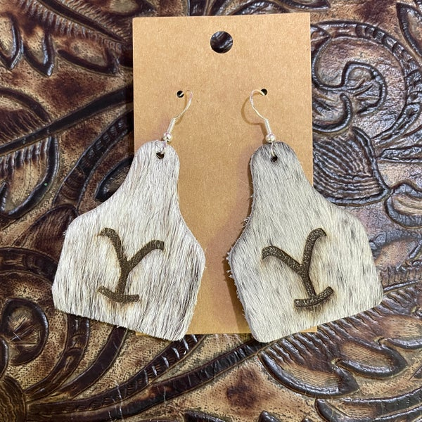 Yellowstone Brindle Branded Leather Cow Tag Earrings #3