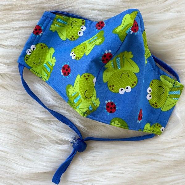 Frog Print Kids Adjustable Mask With Filter