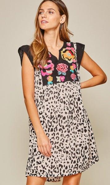 Savanna Jane Leopard Embroidered Lined Dress