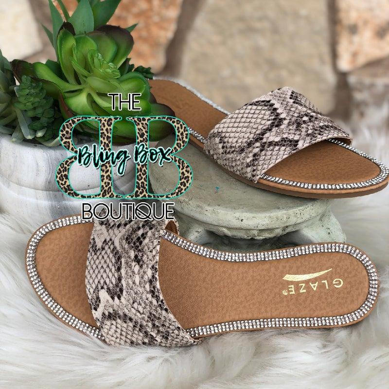 Glaze Tan Snakeskin Bling Lined Honey Sandals