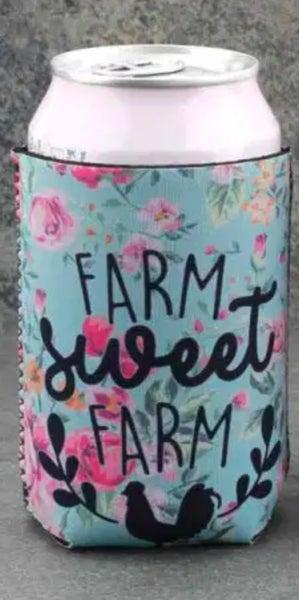 Farm Sweet Farm Turquoise Floral Koozie