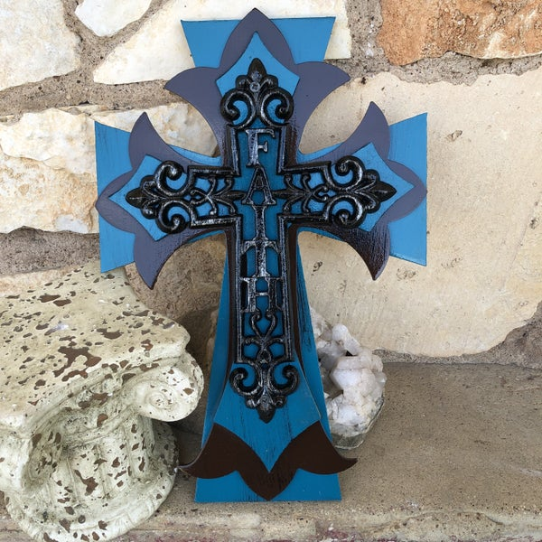 Faith Iron Teal & Brown Stacked Cross