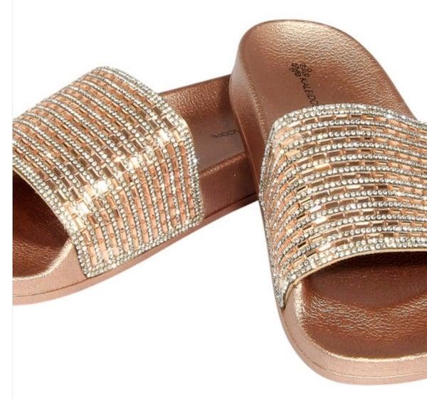 Rose Gold Bling Fashion Slides