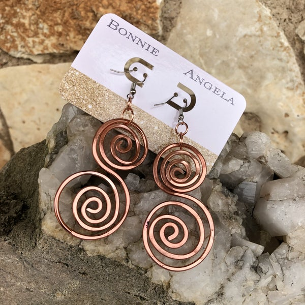 Bonnie Angela Copper Flat Swirl Titanium Earrings