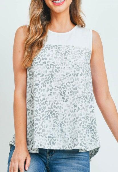 Grey Leopard Print Sleeveless Top