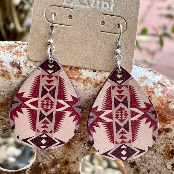 Maroon Print Aztec Wood Teardrop Earrings