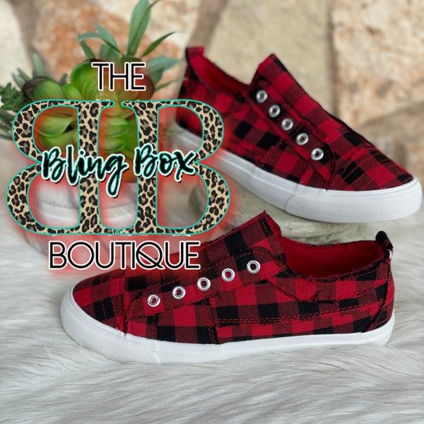 Corkys Babalu Red Plaid Slip on Sneaker