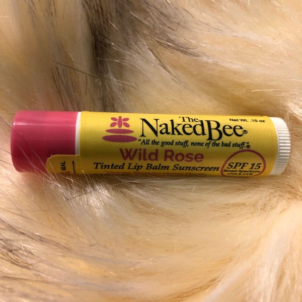 The Naked Bee Wild Rose Tinted  Lip Balm Sunscreen SPF 15 Orange Blossom Honey Flavor
