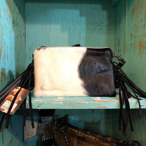 Black & White Cowhide Leather Fringe Crossbody Bag - B
